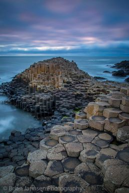 Twilight over the Giant's Causeway along the northern coast, County Antrim, Northern Ireland, UK