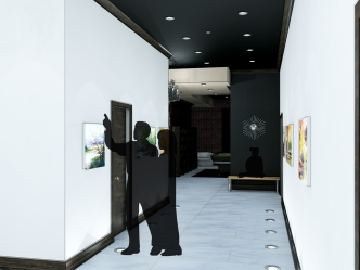 Rendering - Hallway towards Library